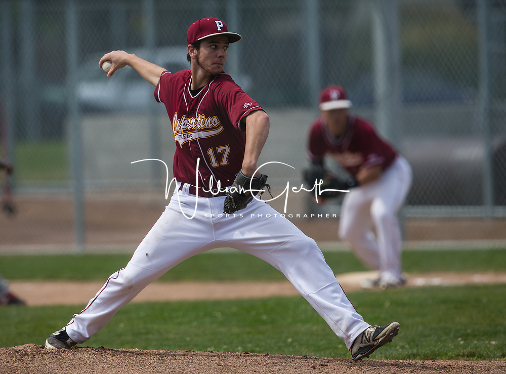 (Photograph by Bill Gerth/ for SVCN/4/15/17) Cupertino #17 Liam Ramirez pitches vs Mt Pleasant in a Non League Baseball Game at Cupertino High School, Cupertino CA on 4/15/17.