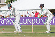Harry Swindells with Gareth Roderick wkt keeper in close attendance during the Specsavers County Champ Div 2 match between Gloucestershire County Cricket Club and Leicestershire County Cricket Club at the Cheltenham College Ground, Cheltenham, United Kingdom on 15 July 2019.