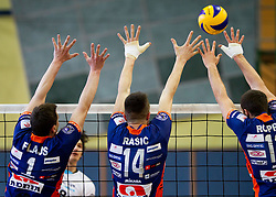 Andrej Flajs of ACH, Milan Rasic of ACH and Gregor Ropret of ACH during volleyball match between Calcit Volleyball and ACH Volley in 4th Final Round of Radenska Classic League 2012/13 on April 16, 2013 in Arena Kamnik, Slovenia. (Photo By Vid Ponikvar / Sportida)