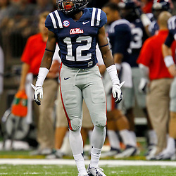 September 22, 2012; New Orleans, LA, USA; Ole Miss Rebels defensive back Cliff Coleman (12) against the Tulane Green Wave during a game at the Mercedes-Benz Superdome. Ole Miss defeated Tulane 39-0. Mandatory Credit: Derick E. Hingle-US PRESSWIRE