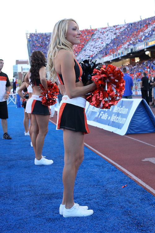 BOISE, ID - SEPTEMBER 25: Cheerleader of the Oregon State Beavers cheers against the Boise State Broncos at Bronco Stadium on September 25, 2010 in Boise, Idaho.   (Photo by Tom Hauck/Getty Images) *** Local Caption ***