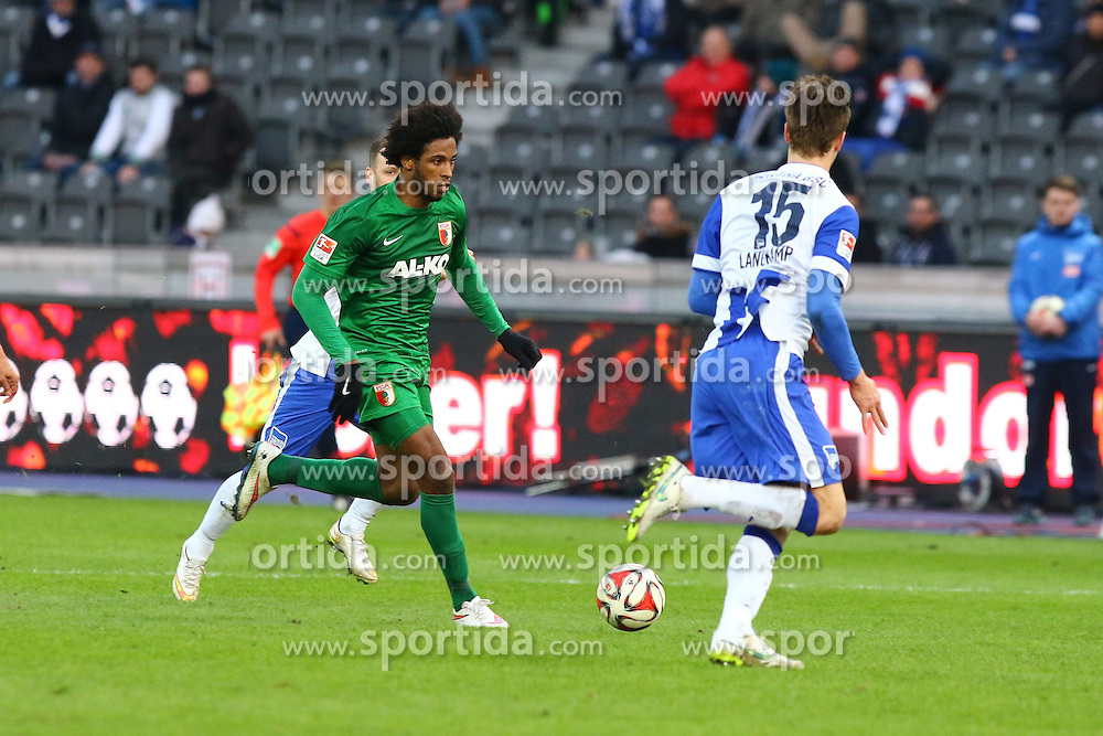 28.02.2015, Olympiastadion, Berlin, GER, 1. FBL, Hertha BSC vs FC Augsburg, 23. Runde, im Bild Caiuby (#30, FC Augsburg) im Laufduell gegen drei Herthaner // SPO during the German Bundesliga 23rd round match between Hertha BSC and Hertha BSC vs FC Augsburg at the Olympiastadion in Berlin, Germany on 2015/02/28. EXPA Pictures &copy; 2015, PhotoCredit: EXPA/ Eibner-Pressefoto/ Hundt<br /> <br /> *****ATTENTION - OUT of GER*****