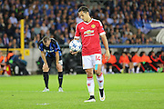 Javier Hernández of Manchester United steps up to take the penalty during the Champions League Qualifying Play-Off Round match between Club Brugge and Manchester United at the Jan Breydel Stadion, Brugge, Belguim on 26 August 2015. Photo by Phil Duncan.