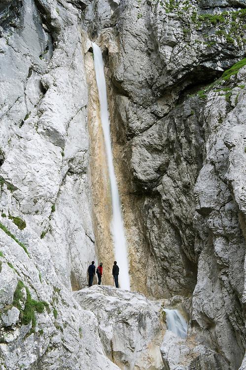 Upper Martuljek Falls, river Martuljek, cascades, rocks<br /> Triglav National Park, Slovenia<br /> July 2009