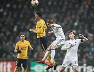 FOOTBALL: Lucas Hernández (Atlético Madrid) and Peter Ankersen (FC København) jumps for the ball during the UEFA Europa League, Round of 32, 1st leg match between FC København and Atlético Madrid at Parken Stadium, Copenhagen, Denmark on February 15, 2018. Photo: Claus Birch.