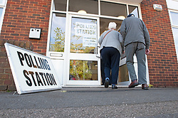 © Licensed to London News Pictures. 02/05/2019.<br /> Swanley,UK. Voting at Christ Church Youth and Family Centre in Swanley, Kent. Polling stations are open across England and Northern Ireland for Local elections today. Photo credit: Grant Falvey/LNP