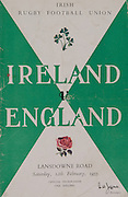 Irish Rugby Football Union, Ireland v England, Five Nations, Landsdowne Road, Dublin, Ireland, Saturday 12th February, 1955,.12.2.1955, 2.12.1955,<br /> Referee- Mr A I Dickie, Scottish Rugby Union,Score- Ireland 6 - 6 England, Irish Team,..W R Tector, Wearing number 15 Irish jersey, Full Back, Wanderers Rugby Football Club, Dublin, Ireland, A C Pedlow, Wearing number 14 Irish jersey, Right wing, Queens University Rugby Football Club, Belfast, Northern Ireland,N J Henderson, Wearing number 13 Irish jersey, Right centre, N.I.F.C, Rugby Football Club, Belfast, Northern Ireland,..A J O'Reilly, Wearing number 12 Irish jersey, Left Centre, Old Belvedere Rugby Football Club, Dublin, Ireland, J T Gaston, Wearing number 11 Irish jersey, Left wing, Dublin University Rugby Football Club, Dublin, Ireland, J W Kyle, Wearing number 10 Irish jersey, Outside Half, N.I.F.C, Rugby Football Club, Belfast, Northern Ireland, J A O'Meara, Wearing number 9 Irish jersey, Scrum, Dolphin Rugby Football Club, Cork, Ireland, F E Anderson, Wearing number 1 Irish jersey, Forward, N.I.F.C, Rugby Football Club, Belfast, Northern Ireland, R Roe, Wearing number 2 Irish jersey, Forward,  Landsdowne Rugby Football Club, Dublin, Ireland, P J O'Donoghue, Wearing  Number 3 Irish jersey, Forward, Bective Rangers Rugby Football Club, Dublin, Ireland,  M N Madden, Wearing number 4 Irish jersey, Forward, Sundays Well Rugby Football Club, Cork, Ireland,T E Reid, Wearing number 5 Irish jersey, Forward, Garryowen Rugby Football Club, Limerick, Ireland, and, London Irish Rugby Football Club, Surrey, England, M J Cunningham,  Wearing number 6 Irish jersey, Forward, University college Cork Rugby Football Club, Cork, Ireland,  J R Kavanagh, Wearing number 7 Irish jersey, Forward, Wanderers Rugby Football Club, Dublin, Ireland, J S McCarthy, Wearing number 8 Irish jersey, Captain of the Irish team, Forward, Dolphin Rugby Football Club, Cork, Ireland, English Team, N M Hall, Wearing number