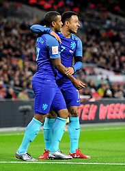 Luciano Narsingh of the Netherlands celebrates his goal with Memphis Depay of the Netherlands  - Mandatory by-line: Alex James/JMP - 29/03/2016 - FOOTBALL - Wembley Stadium - London, United Kingdom - England v Netherlands - International Friendly