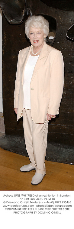 Actress JUNE WHITFIELD at an exhibition in London on 31st July 2002.<br />PCM 18