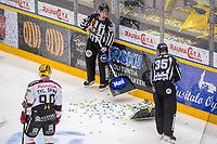 2019-11-30 | Rauma, Finland : Linesmen cleaning paper off the ice during the game between Lukko-Ässät in Kivikylän Areena ( Photo by: Elmeri Elo | Swe Press Photo )
