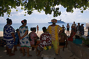 Welcome ceremony, Polynesian dancer, Tiputa, Rangiroa, Tuamotu Islands, French Polynesia, (Editorial use only)<br />