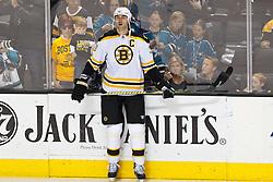 Mar 22, 2012; San Jose, CA, USA; Boston Bruins defenseman Zdeno Chara (33) warms up before the game against the San Jose Sharks  at HP Pavilion. San Jose defeated Boston 2-1. Mandatory Credit: Jason O. Watson-US PRESSWIRE