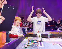 A team of 9 from county Galway were triumphant in Galway at the weekend as they were named Irish champions at the FIRST LEGO League 2012, sponsored by SAP. The theme for this year's competition was food safety. Cian Roche and Kevin McAndrew  from County Galway had anxious moments before winning the tough competition from the Terminators team from County Galway had anxious moments before winning the tough competition qualifying them for a place in the European finals which will take place in Germany in June. .. Photo:Andrew Downes
