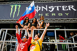 Tim Gajser fans with Monster Girls during MXGP Trentino, round 5 for MXGP Championship in Pietramurata, Italy on 16th of April, 2017 in Italy. Photo by Grega Valancic / Sportida