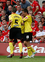 Photo: Steve Bond/Richard Lane Photography.<br />Nottingham Forest v Watford. Coca-Cola Football League Championship. 23/08/2008. Tommy Smith (C) is congratulated