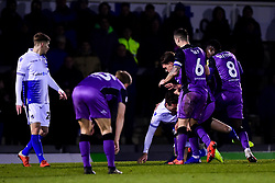 Alex Rodman of Bristol Rovers is challenged by Antony Kay of Port Vale, Emmanuel Oyeleke of Port Vale and Luke Hannant of Port Vale - Mandatory by-line: Ryan Hiscott/JMP - 22/01/2019 - FOOTBALL - Memorial Stadium - Bristol, England - Bristol Rovers v Port Vale - Checkatrade Trophy