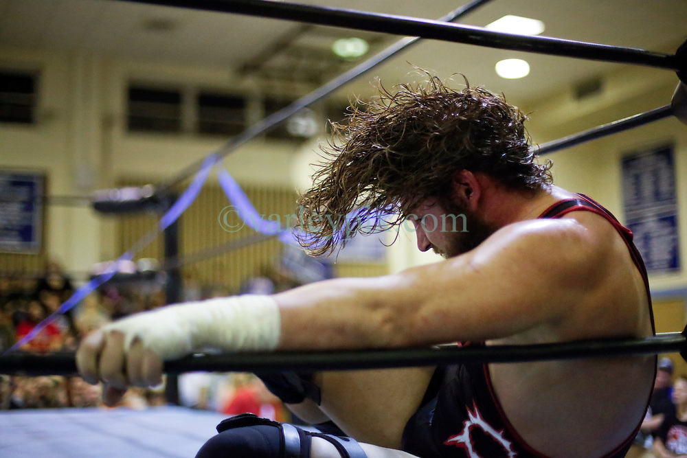 12 March 2016. Metairie, Louisiana.<br /> Wrestling action from Wildkat Sports and Entertainment's 'March into Mayhem' at the Meisler Middle School. &lsquo;Wildcard&rsquo; J. Spade defeats &lsquo;The Outlaw&rsquo; Matt Lancie.<br /> Photo&copy;; Charlie Varley/varleypix.com