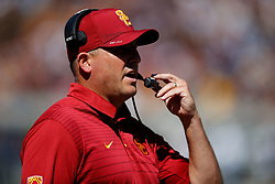 BERKELEY, CA - SEPTEMBER 23:  Head coach Clay Helton stands on the sidelines during the second quarter against the California Golden Bears at California Memorial Stadium on September 23, 2017 in Berkeley, California. (Photo by Jason O. Watson/Getty Images) *** Local Caption *** Clay Helton