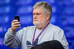 LONDON, ENGLAND - Sunday, March 5, 2017: Former Everton player Ronnie Goodlass takes a photo with his iPhone before the FA Premier League match against Tottenham Hotspur at White Hart Lane. (Pic by David Rawcliffe/Propaganda)