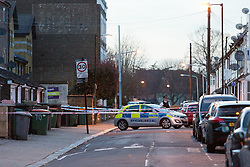 © Licensed to London News Pictures. 25/03/2016. London, UK. A police vehicle at the cordon in Magpie Close in Forest Gate, east London. Five people have been taken to hospital, with one man in a critical condition. Photo credit : Vickie Flores/LNP