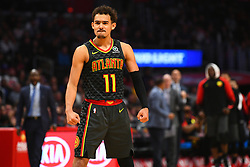 January 29, 2019 - Los Angeles, CA, U.S. - LOS ANGELES, CA - JANUARY 28: Atlanta Hawks Guard Trae Young (11) celebrates a basket during a NBA game between the Atlanta Hawks and the Los Angeles Clippers on January 28, 2019 at STAPLES Center in Los Angeles, CA. (Photo by Brian Rothmuller/Icon Sportswire) (Credit Image: © Brian Rothmuller/Icon SMI via ZUMA Press)