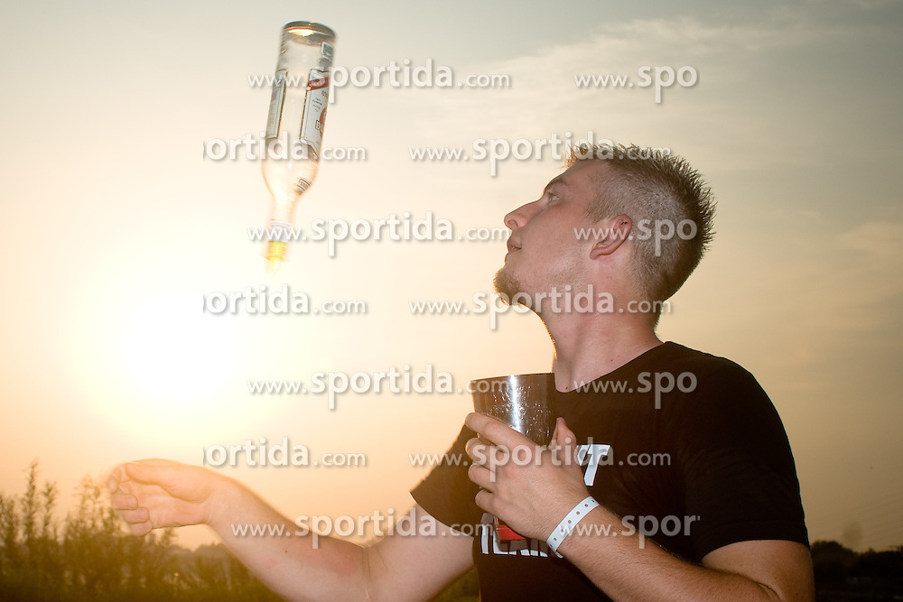Barman practicing for party after day one at Beachmaster 2010 tournament for Slovenian BeachTour on July 15, 2010, in Ptuj, Slovenia. (Photo by Matic Klansek Velej / Sportida)