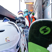 Jacob Stinson gathers Steep & Deep skiers to load the Tram for a backcountry session.