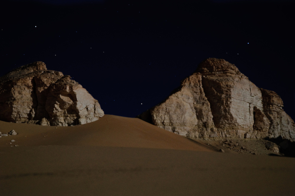The desert plateau around Al-Qasr, Dakhla Oasis, under a full moon