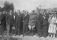 H786<br /> <br /> Bremen Flight 1928.<br /> <br /> The Bremen Crew and various people.<br /> <br /> Facing the camera, third from left and smoking cigar is Baron von H&uuml;nefeld, Major Fitzmaurice and Capt. K&ouml;hl.<br /> <br /> A Guard of Honour and large crowd of people.<br /> <br /> (The first east-west non-stop transatlantic flight, in April 1928, from Baldonnel, Ireland to Greenly Island, Canada, in a Junkers W 33 monoplane, the &quot;Bremen&quot;. Crew of the Bremen: Pilot Capt. Herman K&ouml;hl, Navigator Col. Major James Fitzmaurice and Baron Ehrenfried G&uuml;nther Freiherr von H&uuml;nefeld, Owner of the plane).<br /> <br /> (Part of the Independent Newspapers Ireland/NLI Collection)