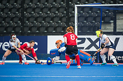 Holcombe score from a penalty corner. East Grinstead v Holcombe - Semi-Final - Investec Women's Hockey League Finals, Lee Valley Hockey & Tennis Centre, London, UK on 22 April 2017. Photo: Simon Parker
