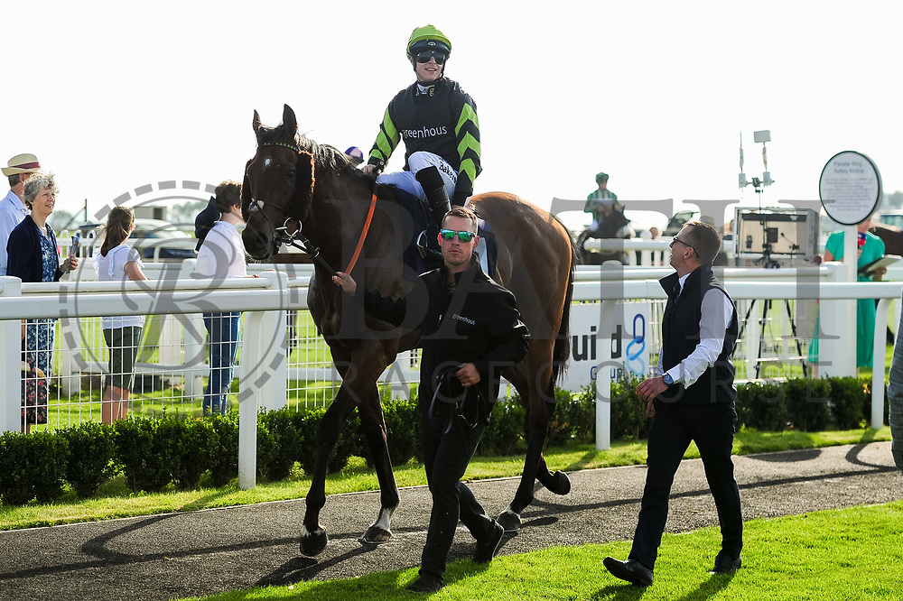Charlie D ridden by Richard Kingscote and trained by Tom Dascombe in the Visit Valuerater.Co.Uk Nursery Handicap race.  - Ryan Hiscott/JMP - 15/09/2019 - PR - Bath Racecourse - Bath, England - Race Meeting at Bath Racecourse