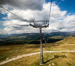 The Nevis Range mountain gondola, which transports visitors effortlessly from 300ft up to 2150ft on the north face of Aonach Mor, the eighth highest mountain in Britain.