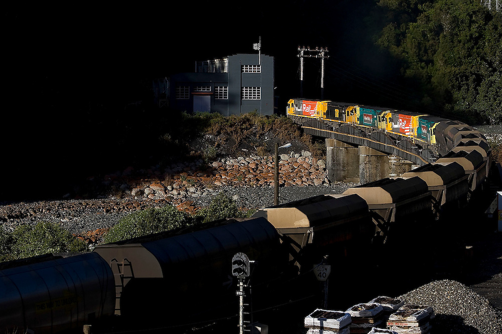 A Kiwirail coal train climbs the hill into the Otira tunnel in Otira, New Zealand, Wednesday, May 05, 2010. Credit: SNPA / Marty Melville