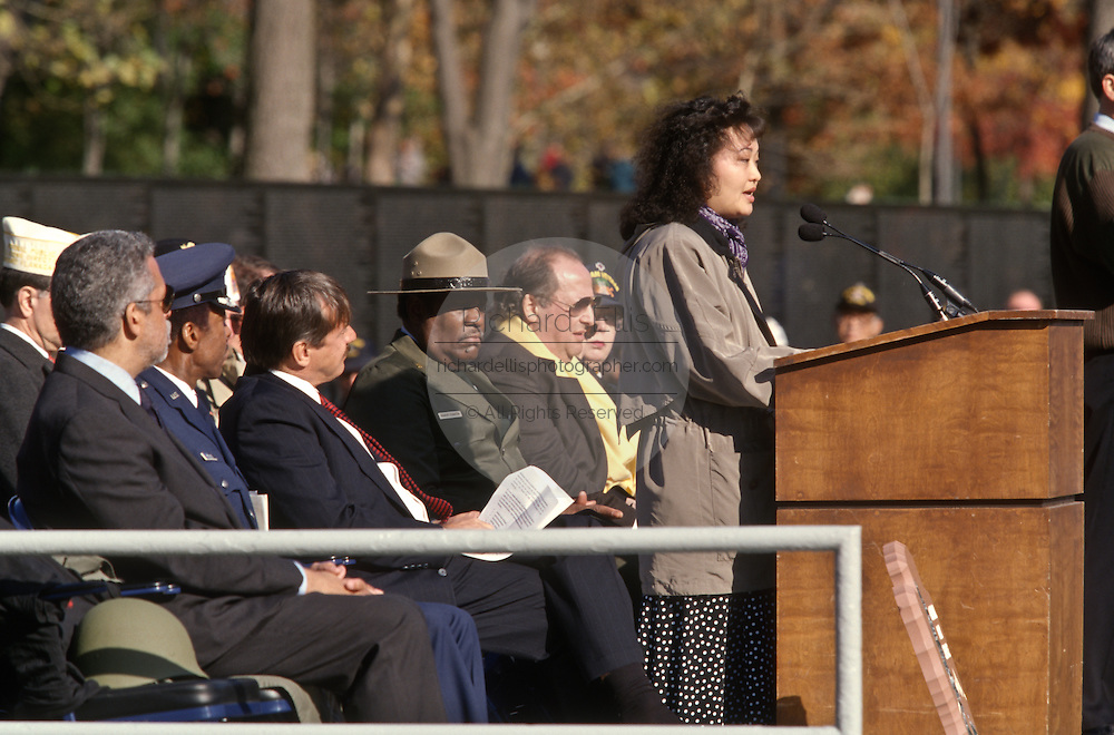Phan Thi Kim Phuc, a napalm victim pictured in a Pulitzer Prize-winning 1972 photo by Nick Ut attends a Veterans Day ceremony at the Vietnam Veterans Memorial November 11, 1996 in Washington, DC.