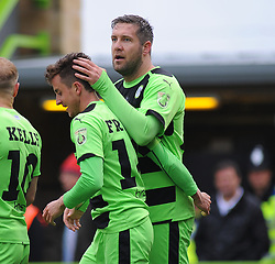Forest Green Rovers's Elliott Frear celebrates his goal with Forest Green Rovers's Jonathan Parkin - Photo mandatory by-line: Nizaam Jones - Mobile: 07966 386802 - 03/04/2015 - SPORT - Football - Nailsworth - The New Lawn - Forest Green Rovers v Aldershot Town - Vanarama Football Conference