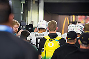 Marcus Mariota #8 of the Oregon Ducks takes the field before kickoff against the Ohio State Buckeyes during the College Football Playoff National Championship Game at AT&T Stadium on January 12, 2015 in Arlington, Texas.  (Cooper Neill for The New York Times)
