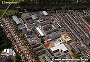 aerial photograph of  Hospitalfields Road  York Yorkshire England UK   Drone style aerial view taken in York Great Britain