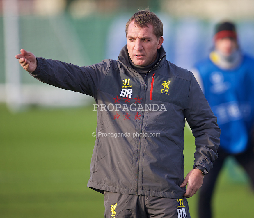LIVERPOOL, ENGLAND - Tuesday, November 4, 2014: Liverpool's manager Brendan Rodgers during a training session at Melwood Training Grounds ahead of the UEFA Champions League Group B match against PFC Ludogorets Razgrad. (Pic by David Rawcliffe/Propaganda)