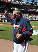 ATLANTA - OCTOBER 3:  Manager Bobby Cox #6 of the Atlanta Braves acknowledges the crowd after receiving an award to commemorate his 2,500th win during the game against the Philadelphia Phillies at Turner Field on October 3, 2010 in Atlanta, Georgia.  The Braves beat the Phillies 8-7.  (Photo by Mike Zarrilli/Getty Images)