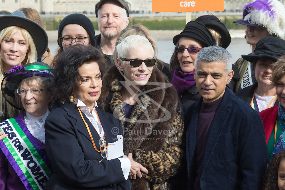 """City Hall, London, March 5th 2017. Stars join March4Women through London. Mayor of London Sadiq Khan and suffragette descendents prepare to march and """"sing for a fairer world ahead of International Women's Day"""". Attended by Annie Lennox, Emeli Sande, Helen Pankhurst, Bianca Jagger and with musical performances from Emeli Sande, Melanie C and more. PICTURED: Bianca Jagger, Annie Lennox, and Mayor of London Sadiq Khan are joined by other celebrities and feminist leaders at a photocall."""