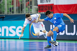 Dominik Solecki of Poland and Douglas Junior of Kazakhstan during futsal match between Poland and Kazakhstan at Day 3 of UEFA Futsal EURO 2018, on February 1, 2018 in Arena Stozice, Ljubljana, Slovenia. Photo by Urban Urbanc / Sportida