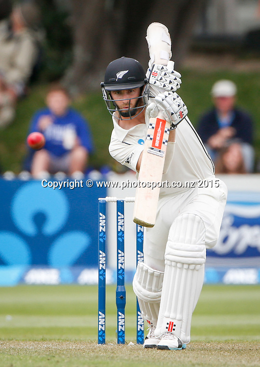 Kane Williamson plays a shot.  First day, second test, ANZ Cricket Test series, New Zealand Black Caps v Sri Lanka, 03 January 2015, Basin Reserve, Wellington, New Zealand. Photo: John Cowpland / www.photosport.co.nz