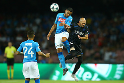 August 16, 2017 - Naples, Campania, Italy - Faouzi Ghoulam of Napoli and Cristophe Jallet of Nice  during the UEFA Champions League Play Off first leg football match SSC Napoli vs OCG Nice, on August 16 2017 at the San Paolo Stadium. (Credit Image: © Matteo Ciambelli/NurPhoto via ZUMA Press)