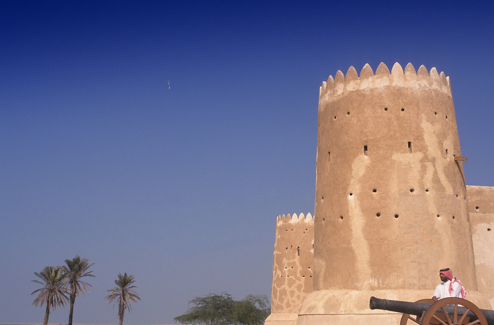 Qatar, Middle East, Asia, the fort of Al Zubarah and cannons.