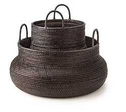 Dark brown tight weave baskets