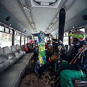 Riding the Ranch Lot shuttle at Jackson Hole Mountain Resort.