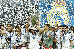 (L-R) Jesus Vallejo of Real Madrid, Karim Benzema of Real Madrid, Luka Modric of Real Madrid, Marcelo of Real Madrid with UEFA Champions League trophy, Coupe des clubs Champions Europeens, goalkeeper Keylor Navas of Real Madrid, Theo Hernandez of Real Madrid, Isco of Real Madrid during the UEFA Champions League final between Real Madrid and Liverpool on May 26, 2018 at NSC Olimpiyskiy Stadium in Kyiv, Ukraine