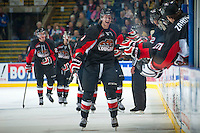 KELOWNA, CANADA - NOVEMBER 8: Marc McNulty #3 of the Prince George Cougars celebrates a goal against the Kelowna Rockets on November 8, 2013 at Prospera Place in Kelowna, British Columbia, Canada.   (Photo by Marissa Baecker/Getty Images)  *** Local Caption ***