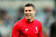 James Milner (#7) of Liverpool warms up ahead of the Premier League match between Newcastle United and Liverpool at St. James's Park, Newcastle, England on 4 May 2019.
