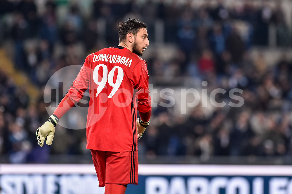 Gianluigi Donnarumma of AC Milan during the Serie A match between Lazio and AC Milan at Stadio Olimpico, Rome, Italy on 13 February 2017. Photo by Giuseppe Maffia.
